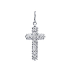 Large Diamond Cross Pendant/Necklace in Solid Gold