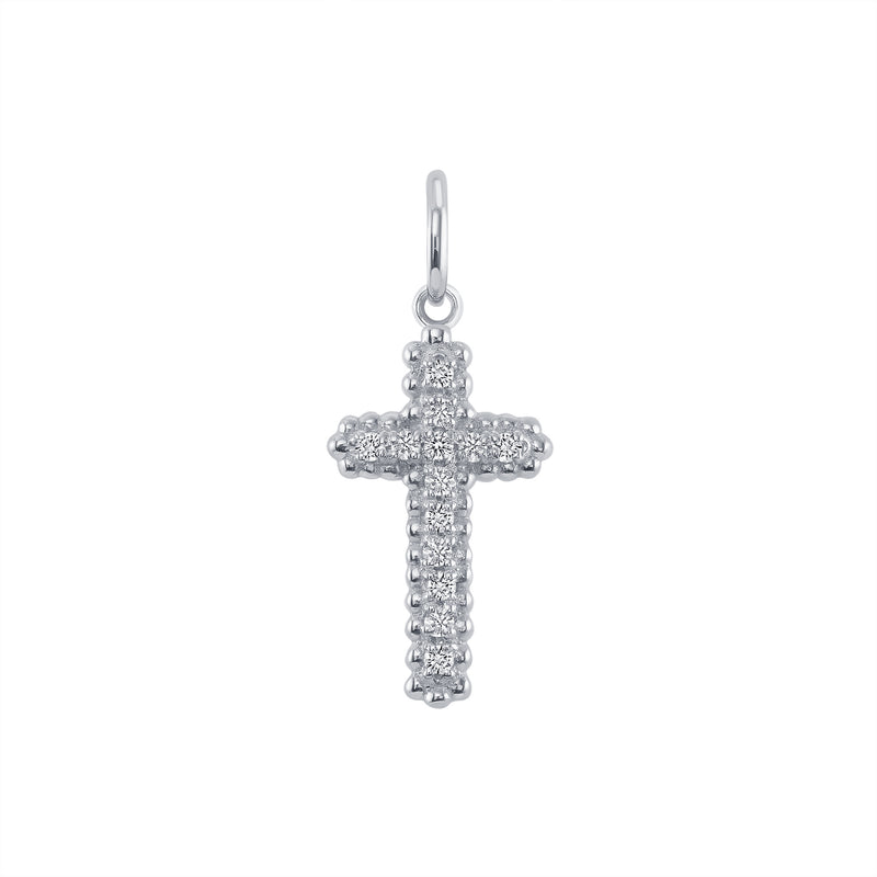 Small Diamond Cross Pendant/Necklace in Sterling Silver