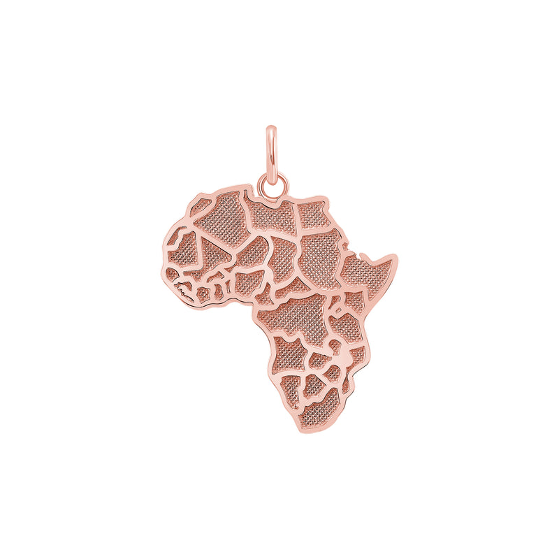 Africa Continent Map LG Pendant/Necklace in Solid Gold