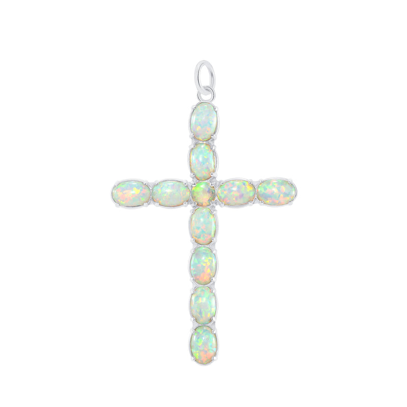Simulated Opal Statement Cross Pendant Necklace in Sterling Silver