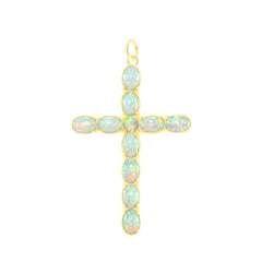 Simulated Opal Statement Cross Pendant Necklace in Solid Gold