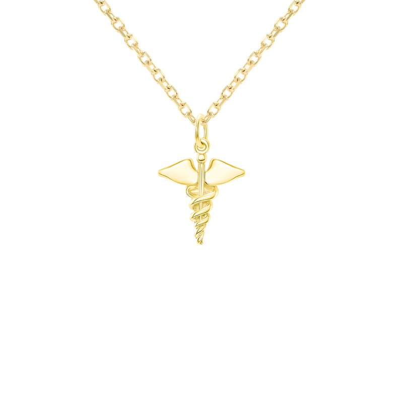 Caduceus Staff of Hermes Symbol Medical Pendant Charm in Solid Gold