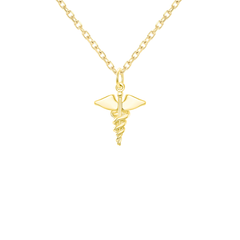 Dainty Caduceus Medical Symbol Charm Pendant Necklace in Solid Gold