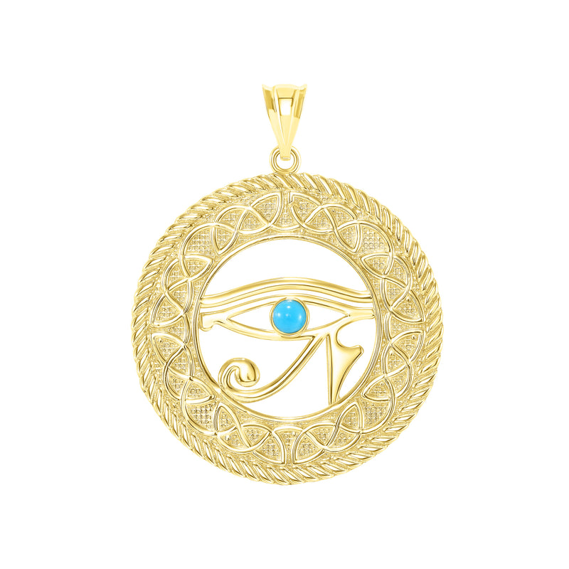 Turquoise Eye of Horus Pendant/Necklace in Solid Gold