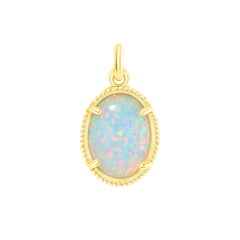Dainty Simulated Opal Layering Pendant Necklace in Solid Gold