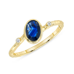 Diamond and Genuine Sapphire Ring in Solid Gold