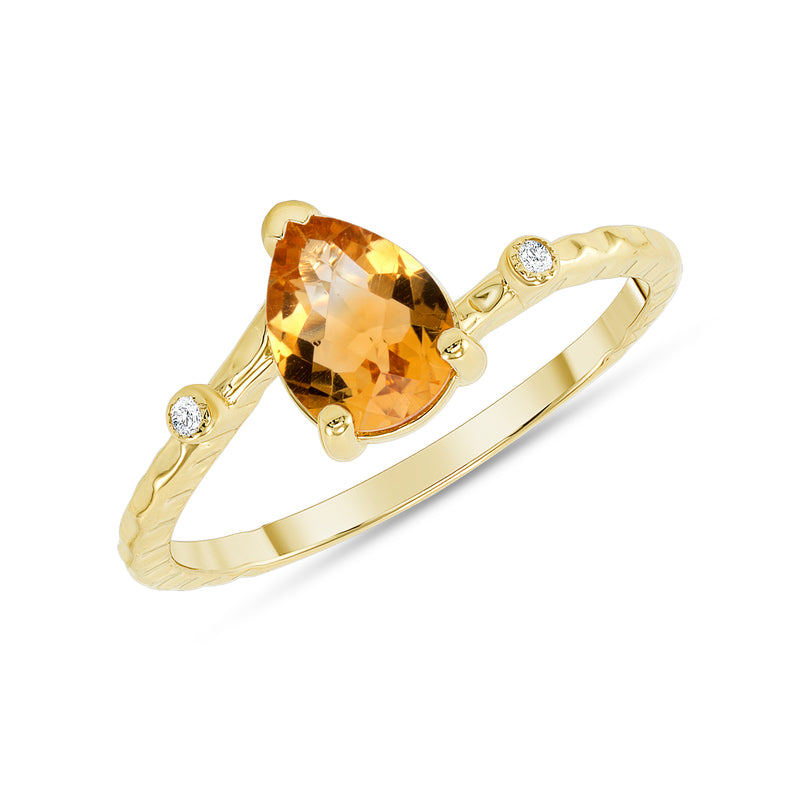 Pear Shape Genuine Citrine and Diamond Stackable Ring in Solid Gold