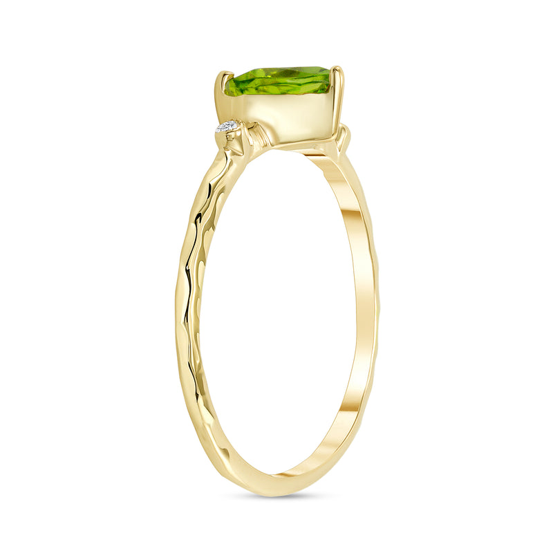 Hammered Heart Shape Peridot & Diamond Stackable Ring In Solid Yellow Gold