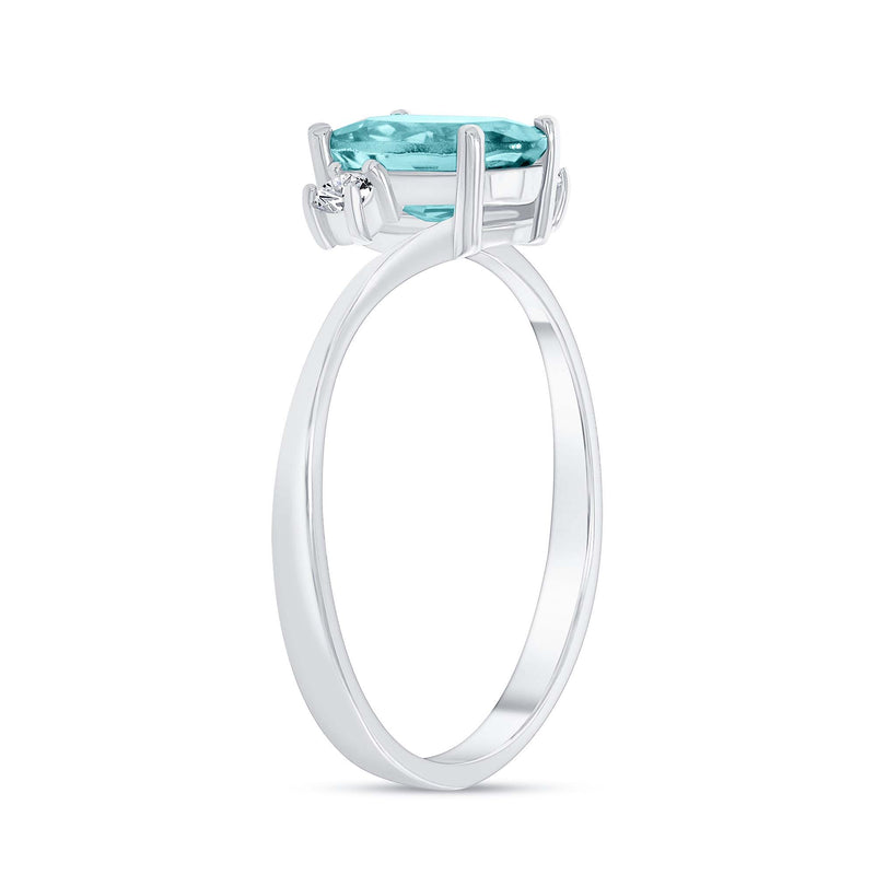 Oval Genuine Aquamarine Gemstone Ring In Sterling Silver