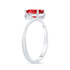 Oval Lab Created Ruby Gemstone Ring In White Gold