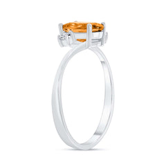 Oval Genuine Citrine Gemstone In White Gold