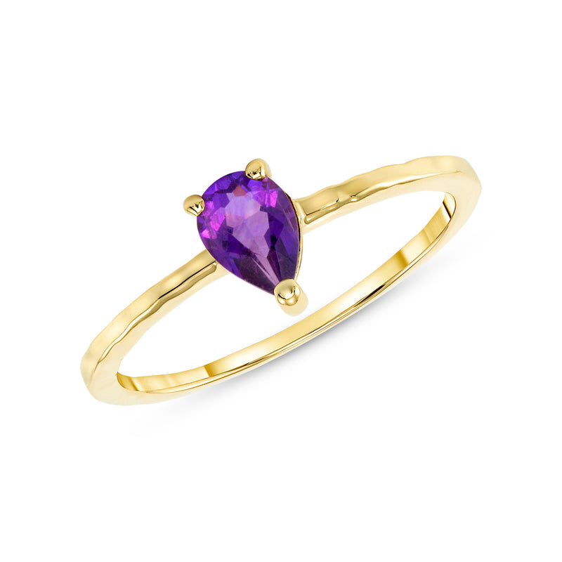 Pear Shape Genuine Amethyst Stackable Ring in Solid Gold