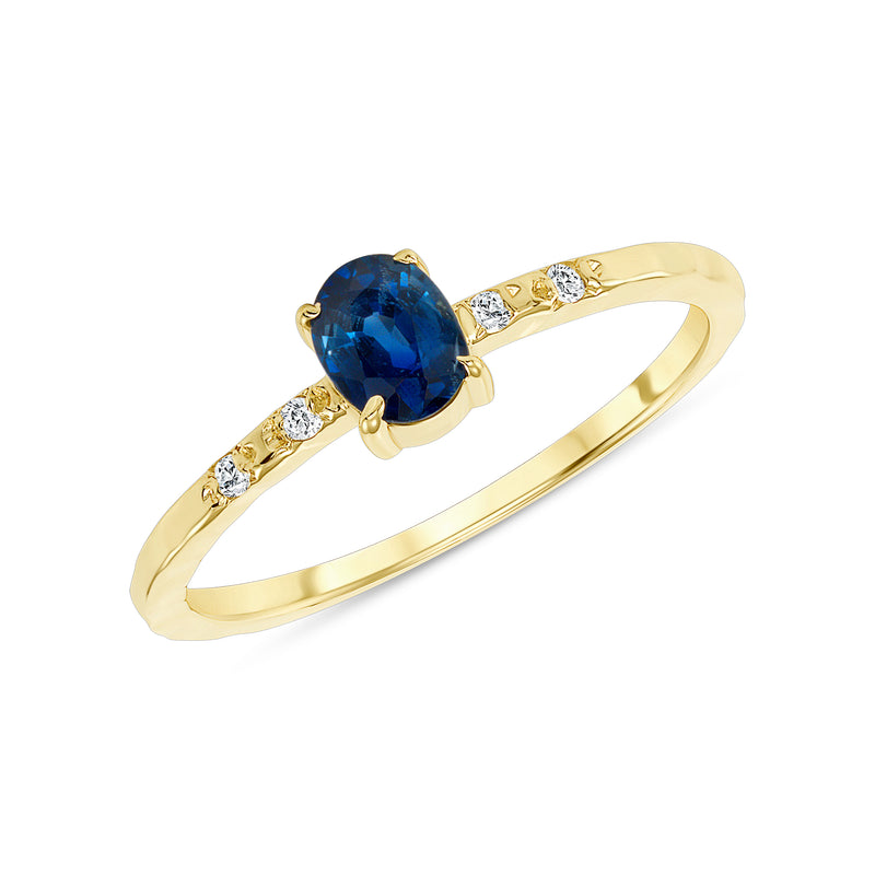 Diamond and Genuine Oval Sapphire Ring in Solid Gold