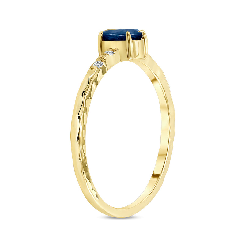 Diamond and Genuine Oval Sapphire  Stackable Ring in Solid Gold