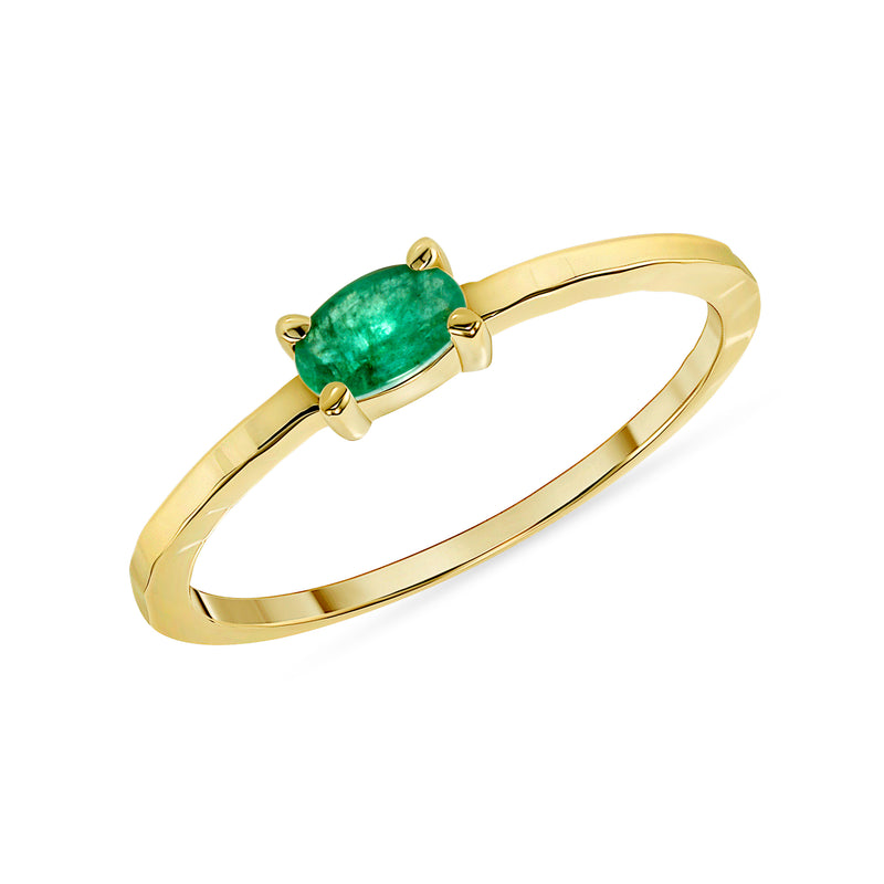 Genuine Oval Emerald Ring in Solid Gold