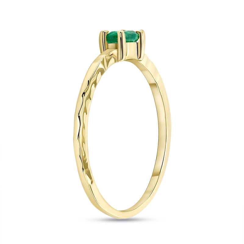 Genuine Oval Emerald Stackable Ring in Solid Gold