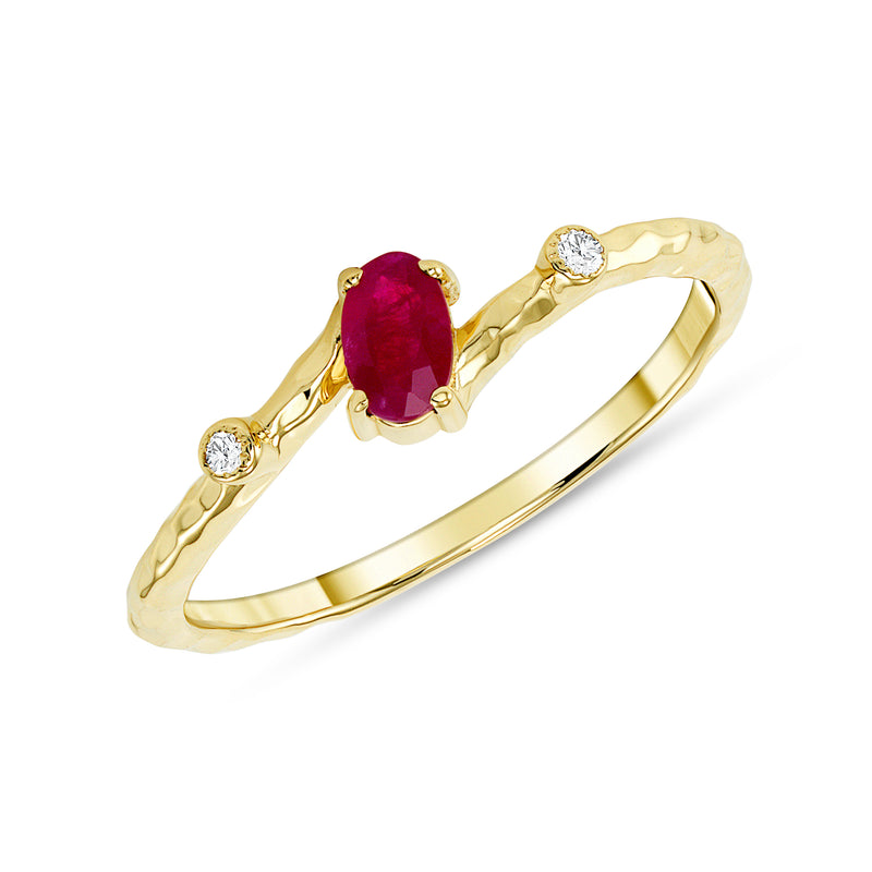 Oval Genuine Ruby and Diamond Stackable Ring in Solid Gold