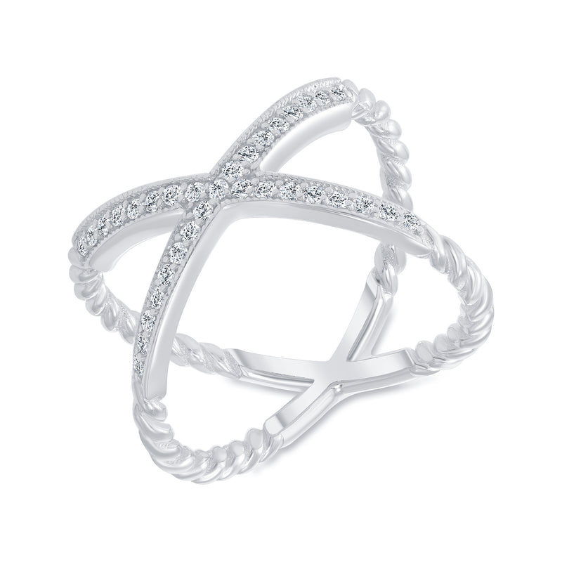 Diamond Rope Criss Cross Ring in White Gold