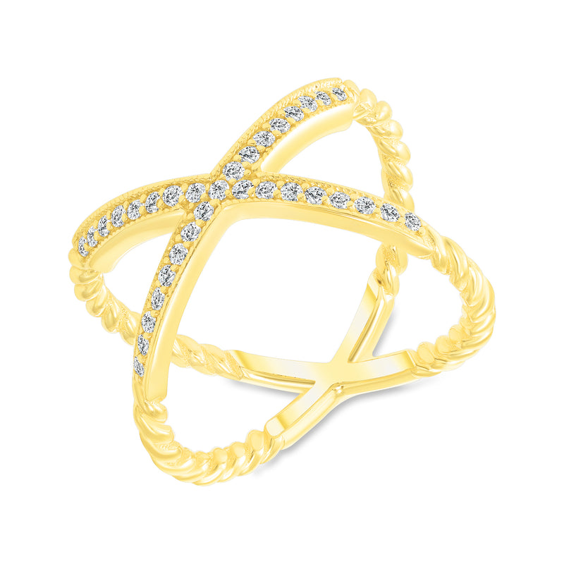 Diamond Rope Criss Cross Ring in Yellow Gold