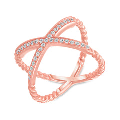 Diamond Rope Criss Cross Ring in Rose Gold