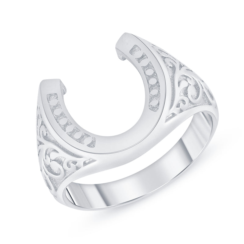 Horseshoe Statement Ring in Oxidized Sterling Silver