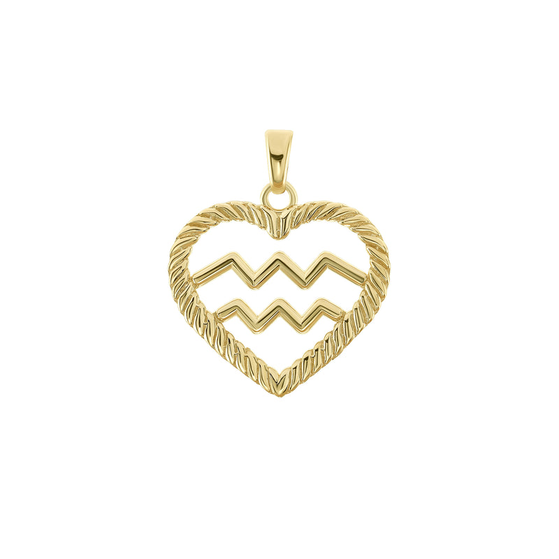 Aquarius Zodiac Pendant/Necklace in Solid Gold