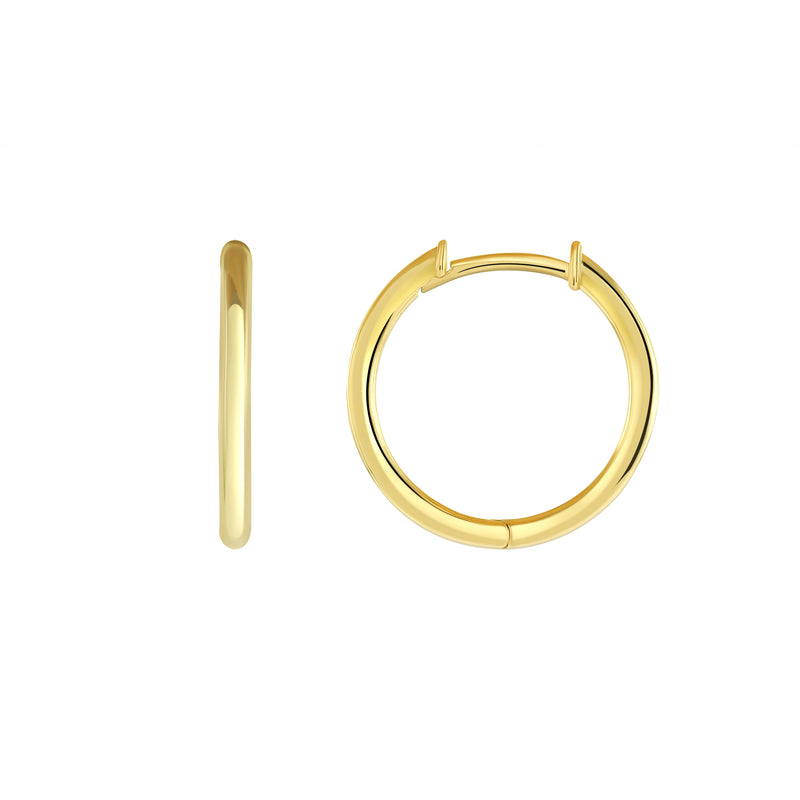 Simple 15mm Hoop Huggie Earrings in Solid Gold