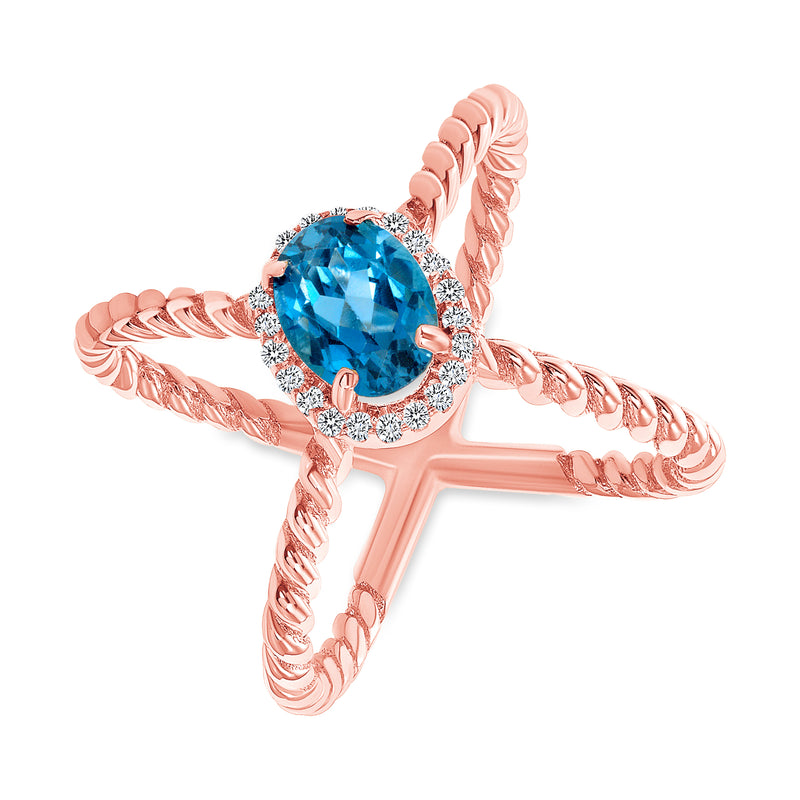 Diamond and Genuine Gemstone Criss Cross Statement Ring in Rose Gold