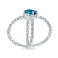 Diamond and Genuine Gemstone Criss Cross Statement Ring in White Gold