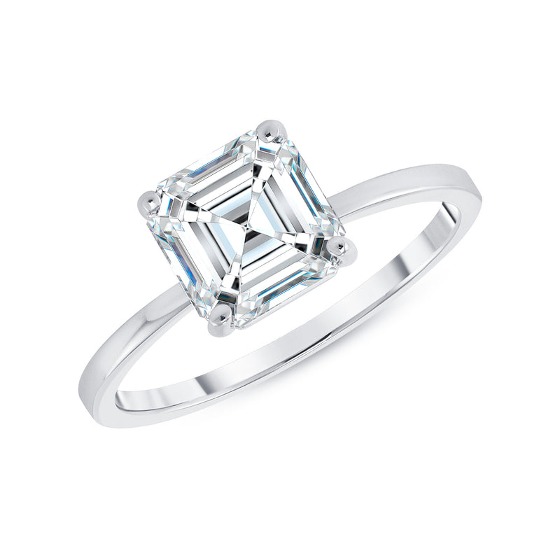 Asscher Cut CZ Engagement Ring in White Gold