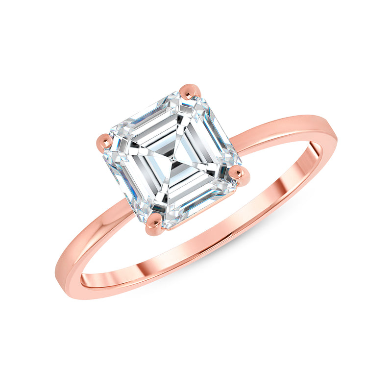 Asscher Cut CZ Engagement Ring in Rose Gold