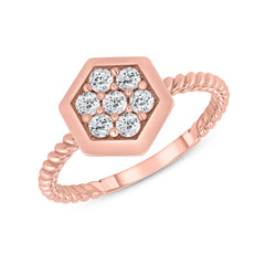 Dainty Honeycomb Diamond Statement Rope Ring in Rose Gold