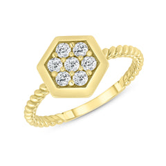 Dainty Honeycomb Diamond Statement Rope Ring in Yellow Gold