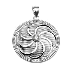 Armenian Eternity Shield Diamond Pendant Necklace in Sterling Silver