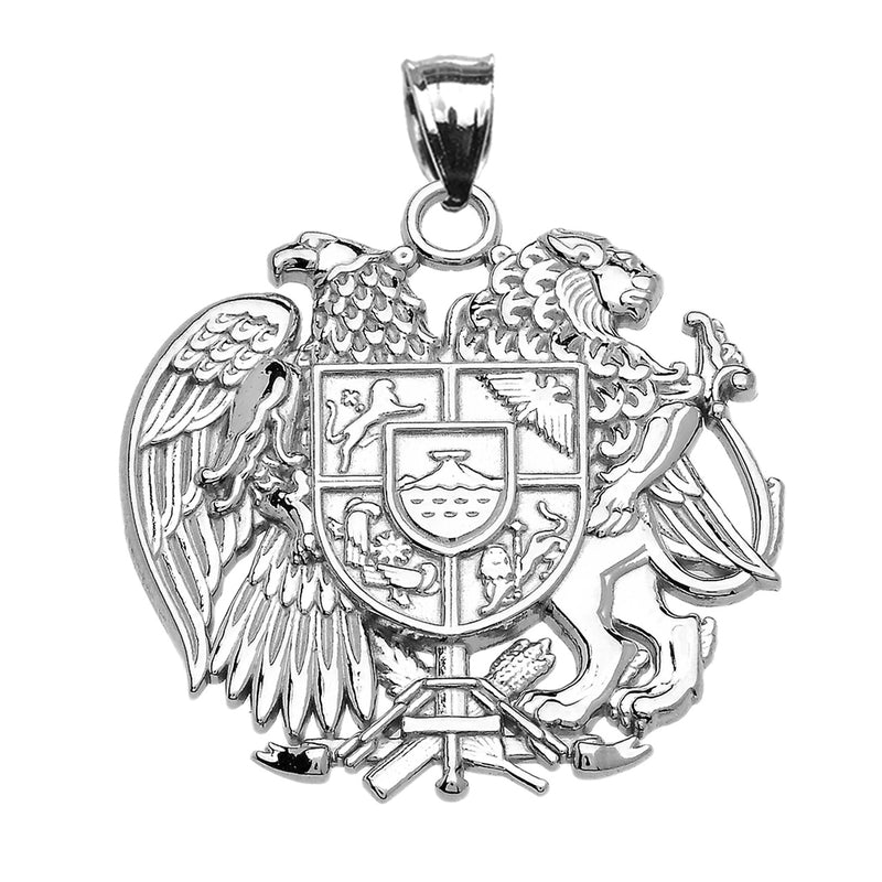 Armenian National Coat of Arms Pendant Necklace in Sterling Silver (LG/SM)