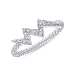 Diamond Electrifying Lightning Ring in Sterling Silver