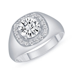 Diamond and CZ Men's Pinky Statement Ring in White Gold