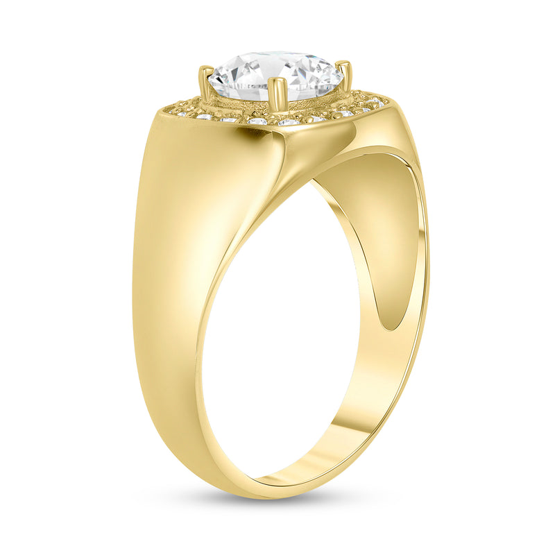 Diamond and CZ Men's Pinky Statement Ring in Yellow Gold