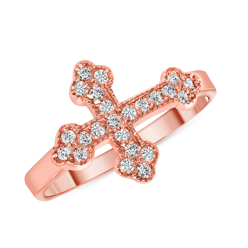 Diamond Sideways Cross Ring in Diamonds and Rose Gold