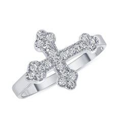 Cross Ring with CZ in White Gold
