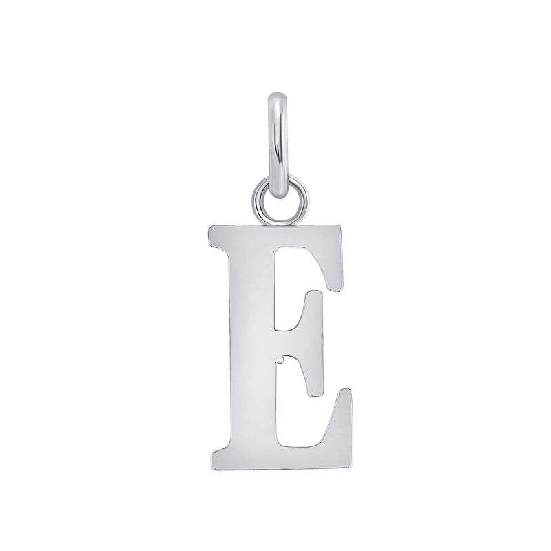 "Customizable Initial ""E"" Pendant Necklace in Sterling Silver"