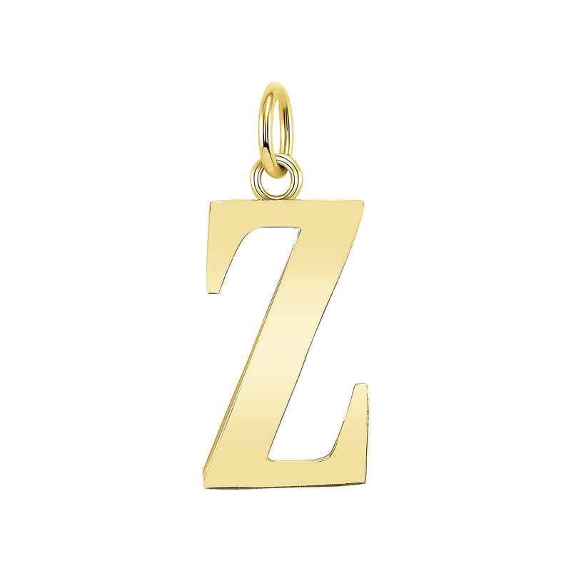 "Customizable Initial ""Z"" Pendant Necklace in Solid Gold"