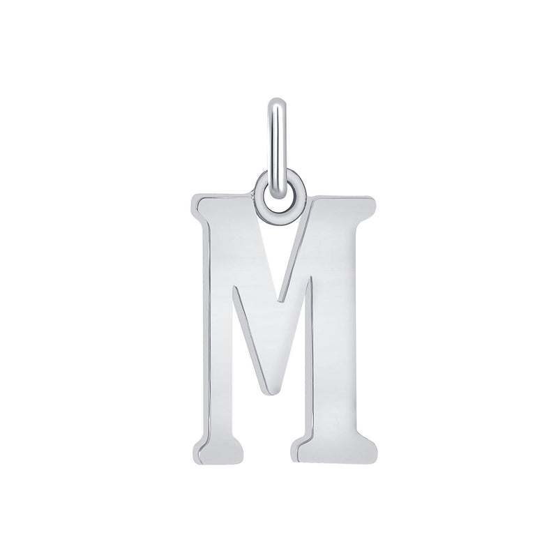 "Customizable Initial ""M"" Pendant Necklace in Sterling Silver"