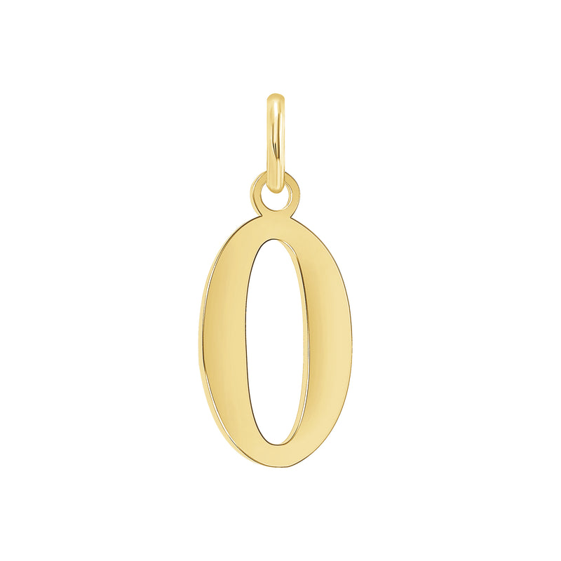 "Customizable Initial ""O"" Pendant Necklace in Solid Gold"