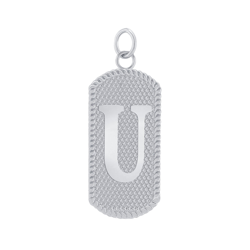 "Customizable Dog Tag Initial ""U"" Necklace/Pendant in Solid Gold"
