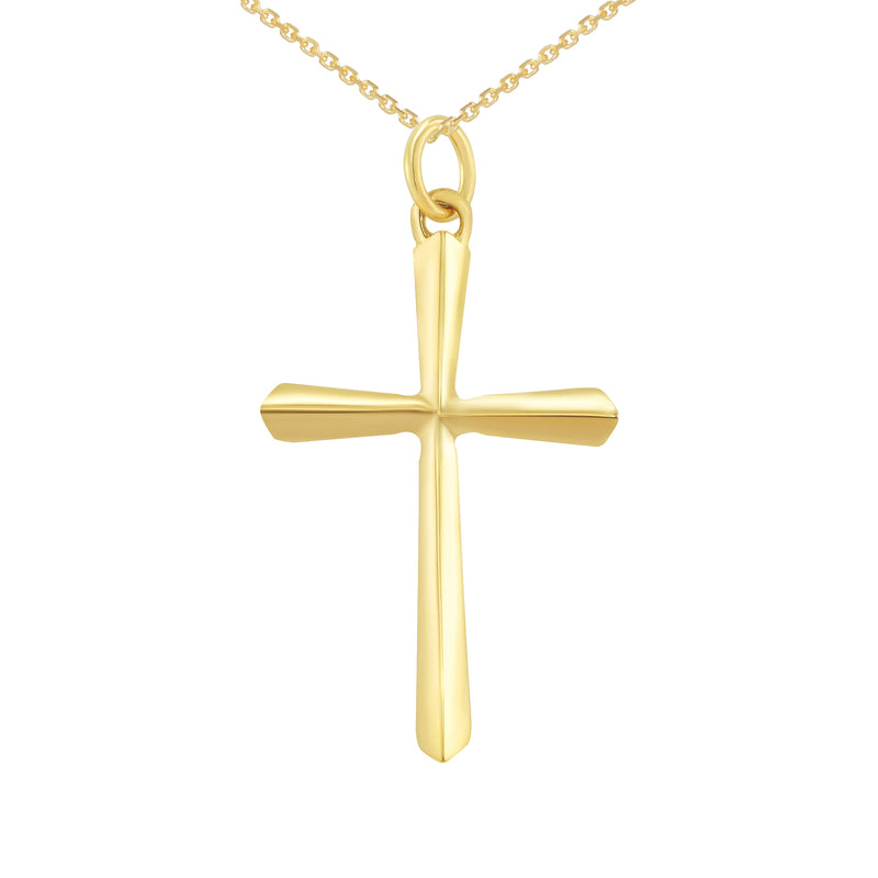 3D Unisex X-Large Cross Pendant/Necklace in Solid Gold