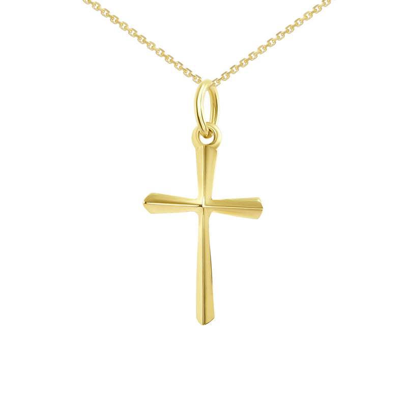 3D Unisex Small Cross in Solid Gold