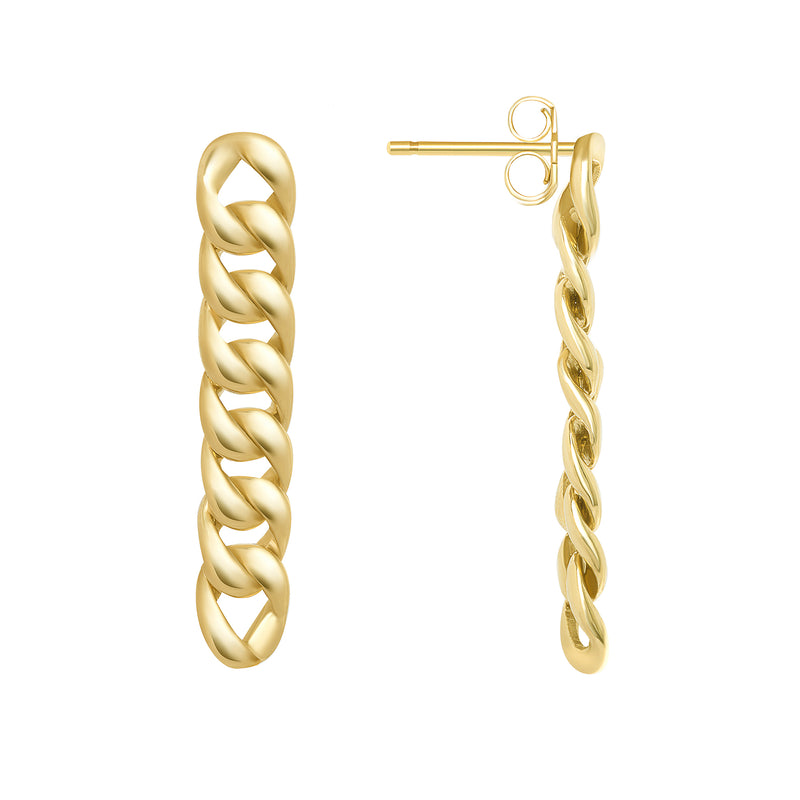 Cuban Link Drop Earrings in Solid Gold