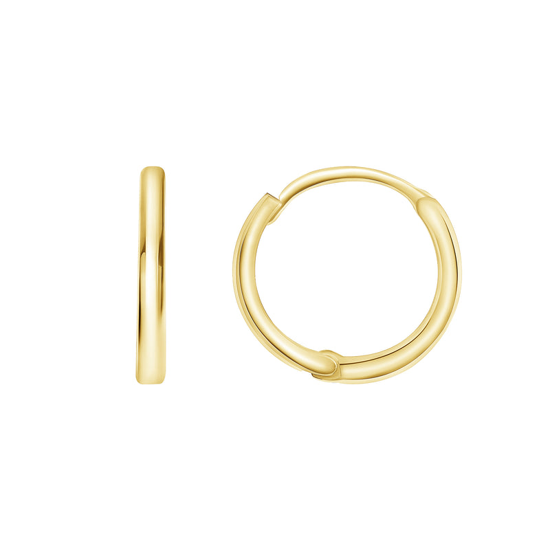 Dainty Simple Hoop 9mm Huggie Earrings in Solid Gold