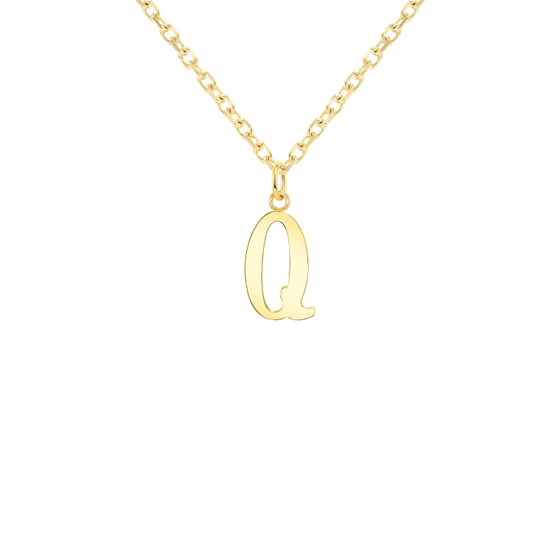 "Customizable Initial ""Q"" Pendant Necklace in Solid Gold"